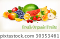 Big collection of different fresh fruit. Vector. 30353461