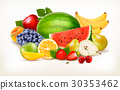 Big collection of different fresh fruit. Vector. 30353462