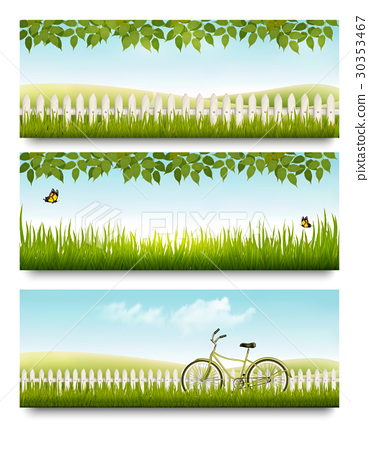 Countryside banners with grass, white fence 30353467