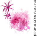 Watercolor splash with palm 30353708