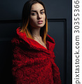 beautiful woman red cloak with red flowers roses 30355366