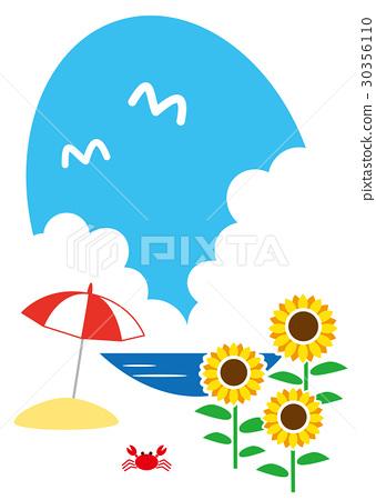 向日葵 遮阳伞 海滩 30356110