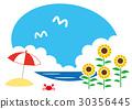 向日葵 遮阳伞 海滩 30356445