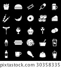 Fast food icons on black background 30358335