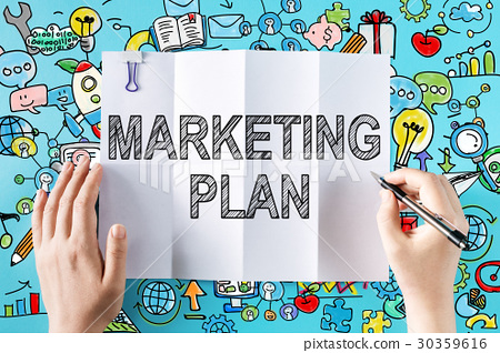 Marketing Plan text with hands 30359616