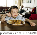 Boy Mealtome Eating Spaghetti at Home 30364498