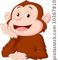 Cartoon chimpanzee thinking 30367810