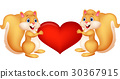 Squirrel couple holding red heart 30367915