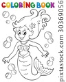coloring, book, mermaid 30369056
