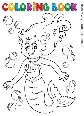 Coloring book mermaid topic 1 30369056