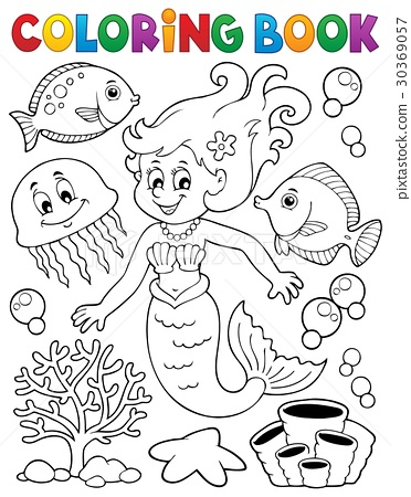 Coloring book mermaid topic 2 30369057