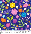 Stylized flowers seamless background 2 30369101