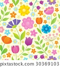 Stylized flowers seamless background 4 30369103