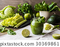 Detox diet. Green smoothie with vegetables 30369861