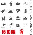 Vector grey disaster icon set 30370507