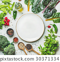 Fresh greens, raw vegetables and grains, white 30371334