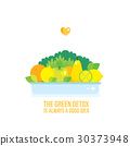 Fresh vegetables fruits and greens plate isolated 30373948