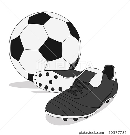 Black and white soccer ball with stud shoes 30377785