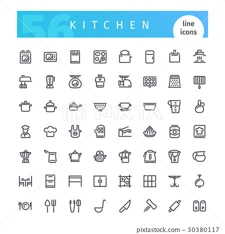 Kitchen Line Icons Set 30380117