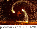 Fire dancing shows at night on the beach, Samed 30383294