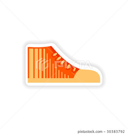 stylish paper sticker on white background gumshoes 30383792