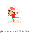 paper sticker on white background child playing 30384529