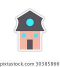 paper sticker on white background Dutch house 30385866