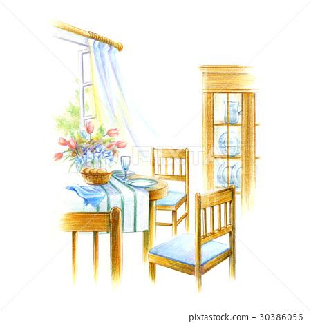 在窗口邊的餐桌 30386056