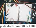 School supplies on blackboard 30391184