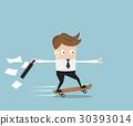businessman hurry on skateboard 30393014