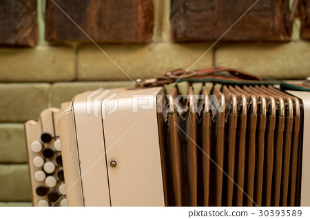 Old musical instrument Russian bayan 30393589