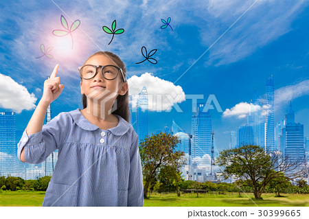 Concept of environmental kid with city background 30399665