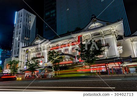 歌舞伎劇場 夜景 點燈 30402713