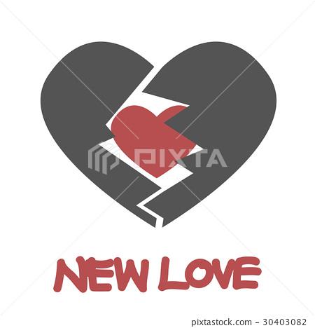 red heart inside gray broken heart 30403082