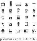 Household icons with reflect on white background 30407163