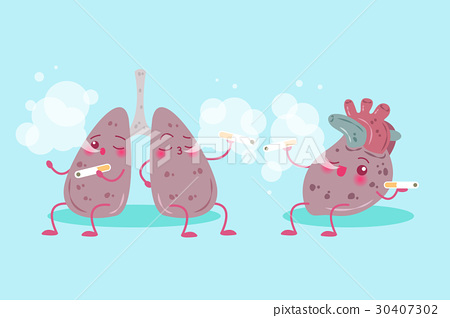 cartoon lung and heart 30407302