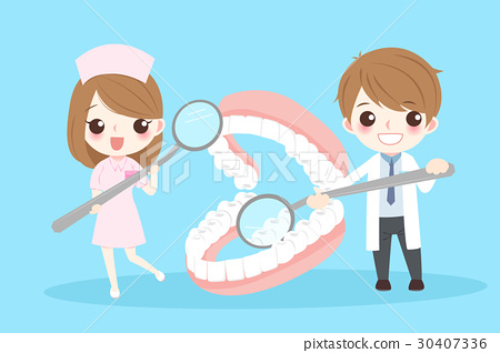 cartoon dentist with tooth 30407336