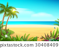 Tropical paradise island sandy beach, palm trees 30408409