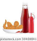 set of fried chicken with sauce bottle vector 30408841