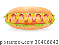real hot dog sausage with sauce in a bread on a wh 30408843