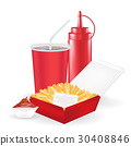 french fries with sauce bottle and drink 30408846