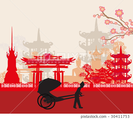 rickshaw and Asian landscape 30411753