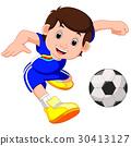 Boy cartoon playing football 30413127