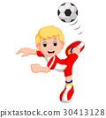 Boy cartoon playing football 30413128