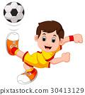 Boy cartoon playing football 30413129