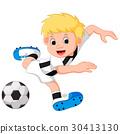 Boy cartoon playing football 30413130