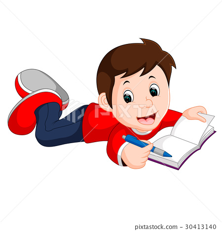 happy boy reading book alone 30413140