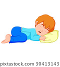 little boy sleeping on a white background 30413143