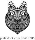 Zentangle stylized Wolf face 30413285