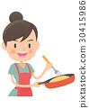 用家庭主婦煎鍋烤煎蛋捲 30415986